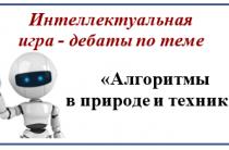 Интеллектуальная игра — дебаты по теме «Алгоритмы в природе и технике»